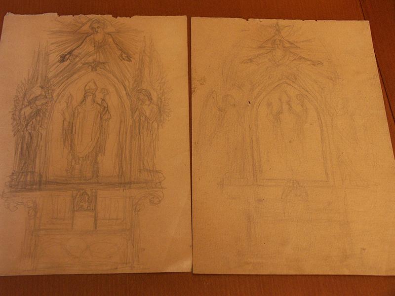 Rysunki i szkice Ludwika Konarzewskiego (seniora) związane z powstawaniem ołtarza głównego oraz obrazu św. Stanisława BM z maja 1951 r. [001]