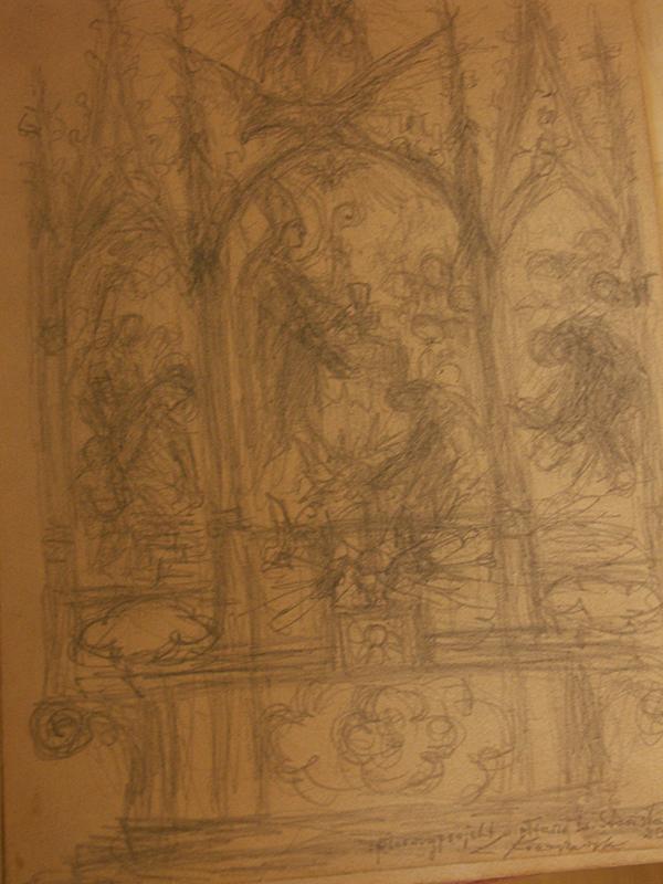 Rysunki i szkice Ludwika Konarzewskiego (seniora) związane z powstawaniem ołtarza głównego oraz obrazu św. Stanisława BM z maja 1951 r. [003]