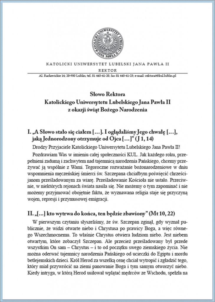 Słowo Rektora KUL Boże Narodzenie 2014/1