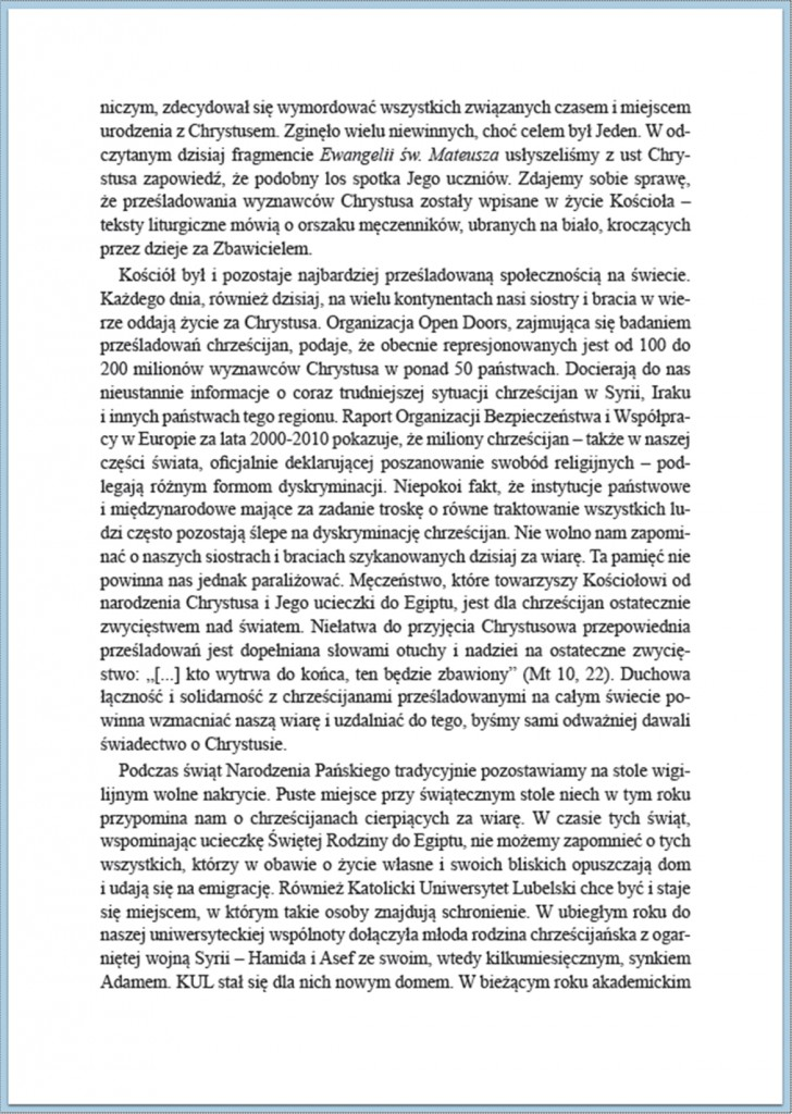 Słowo Rektora KUL Boże Narodzenie 2014/2