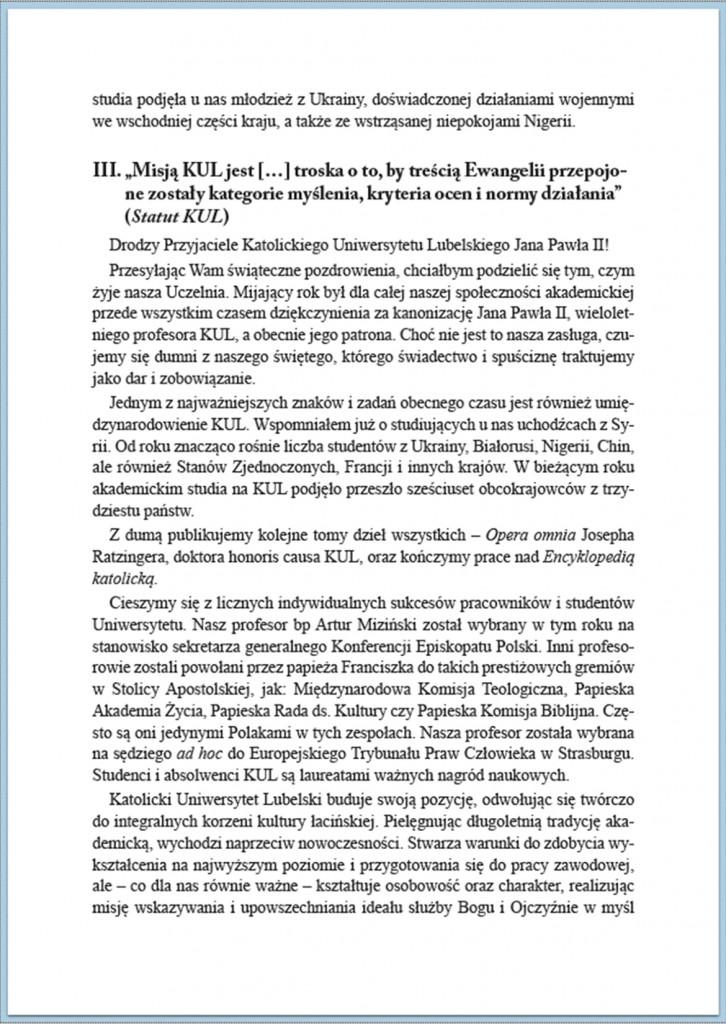 Słowo Rektora KUL Boże Narodzenie 2014/3