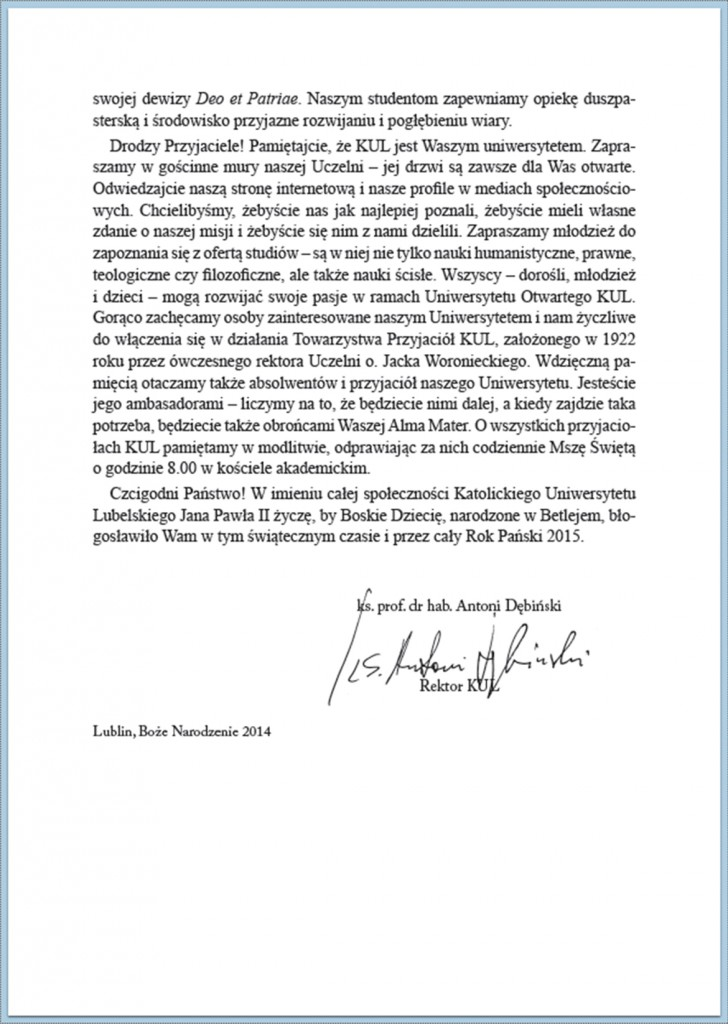 Słowo Rektora KUL Boże Narodzenie 2014/4