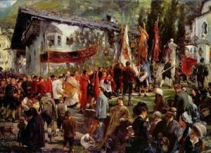 "Adolf von Menzel - ""Procesja Bożego Ciala w Bad Hofgastein"""