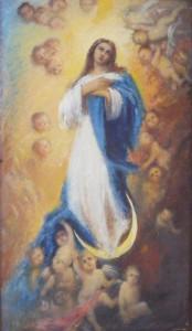 """""""Wniebowzięcie NMP"""" - obraz ks. M. Dubiela na suficie kościoła w Cieślinie."""