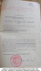 Dekret ks. kardynała Stefana Wyszyńskiego Prymasa Polski z dnia 19.IV.1958 r. udzielający ks. kapelanowi w Rabsztynie przywileju trynacji.