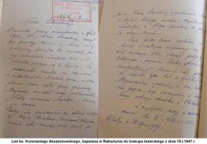 List ks. Konstantego Aksamitowskiego, kapelana w Rabsztynie do biskupa kieleckiego z dnia 18.I.1947 r.