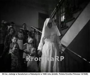 SS św. Jadwigi w Sanatorium w Rabsztynie w 1946 roku (źródło: Polska Kronika Filmowa 14/1946).