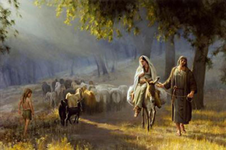 Maryja i Józef w drodze do Betlejem.