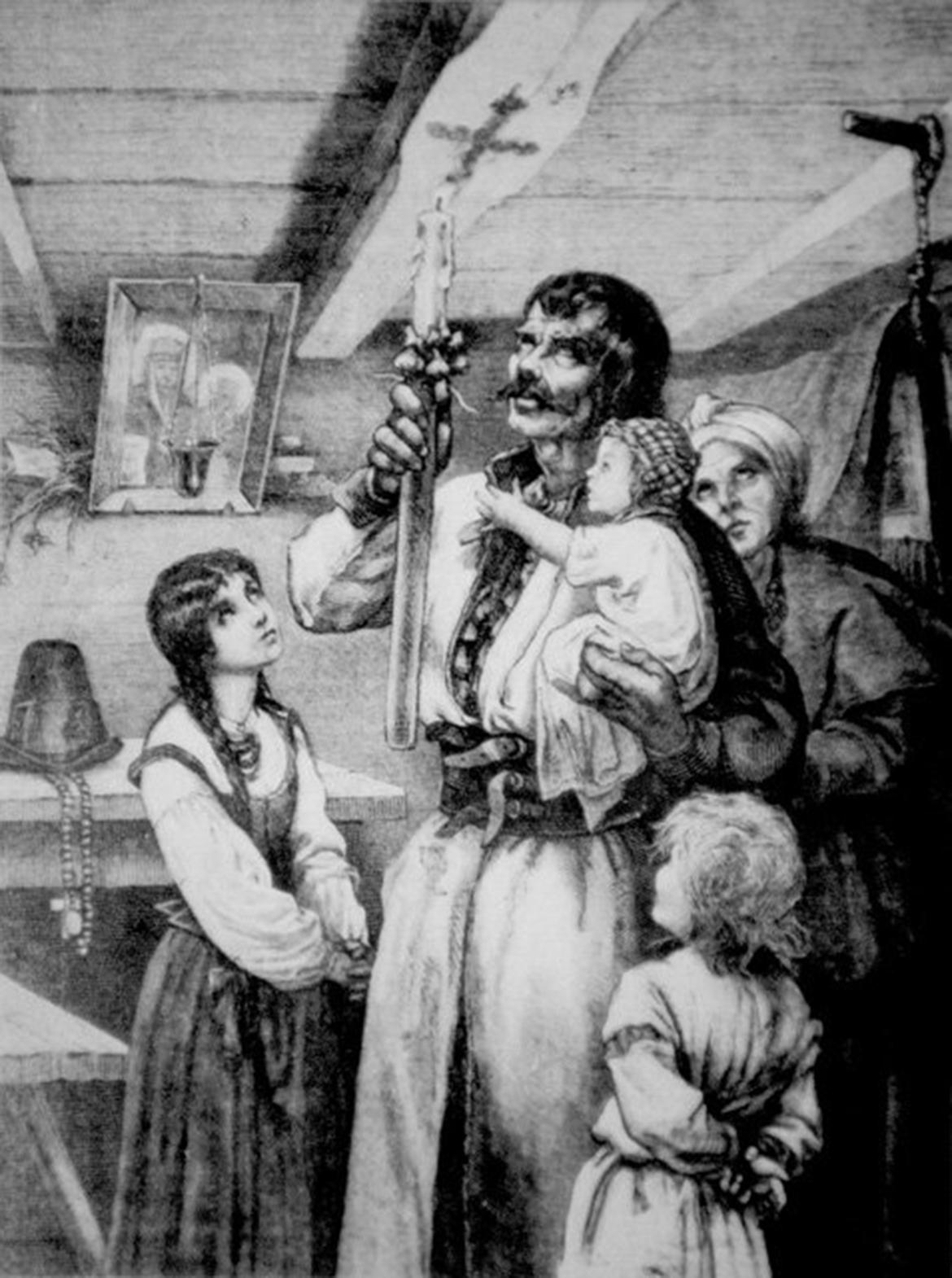 """Michał Elwir Andriolli """"Matka Boska Gromniczna (Wypalanie znaku krzyża na tragarzu chaty w dzień Matki Boskiej Gromnicznej)"""" - rysunek."""