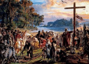 Zaprowadzenie chrześcijaństwa - obraz Jana Matejki z 1889 r. (zamek Królewski w Warszawie)