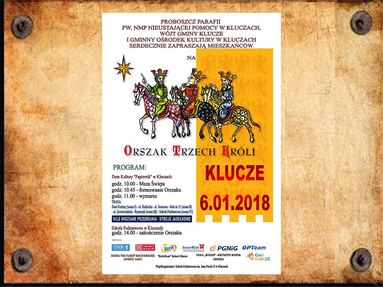 """Plakat """"Orszak Trzech Króli"""" Klucze 2018"""