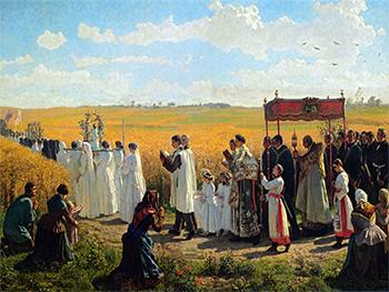 """Jules Breton """"Blessing of the wheat fields in Artois"""" (1857) (G)"""