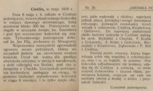 Kronika Powiatu Olkuskiego Nr 35 z 1 czerwca 1918 roku