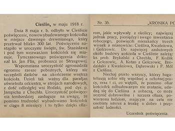 Kronika Powiatu Olkuskiego Nr 35 z 1 czerwca 1918 roku (G)