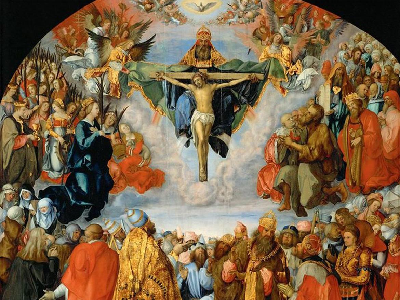"""Albrecht Dürer """"Wszyscy święci"""" (obraz z ołtarza w Landau)"""