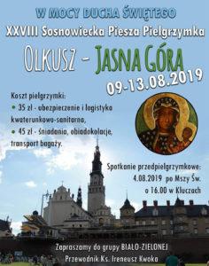 XXVIII Sosnowiecka Piesza Pielgrzymka na Jasną Górę 2019