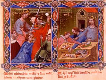 """""""Święty Stanisław ze Szczepanowa"""" (obraz legendarnego króla Węgier Anjou (XIV wiek)) (2) (G)"""