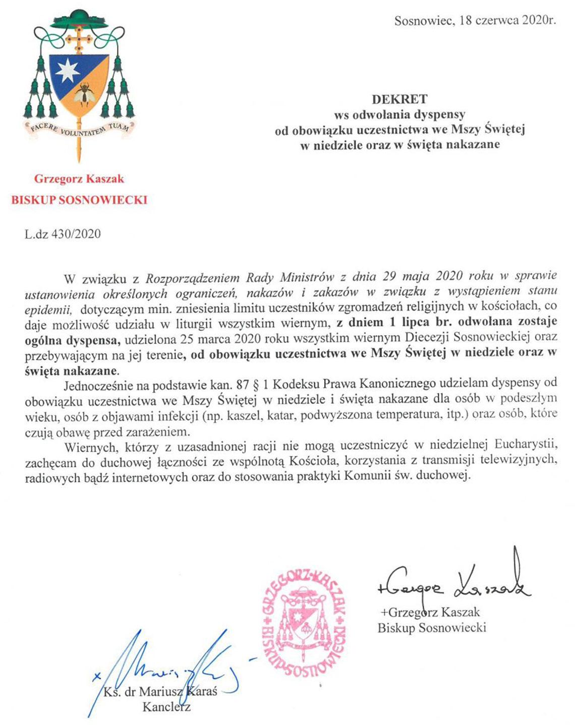 Dekret Biskupa Sosnowieckiego ws. odwołania dyspensy